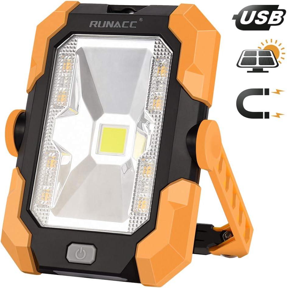 Mango magn/ético,4 modos RUNACC 1000 l/úmenes luz de trabajo port/átil led Recargable de Solar y USB,con bater/ía y giro de 360/°