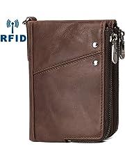Billetera Hombre Cuero con Monedero Bloqueo RFID Carteras Hombre Piel con Cremallera & 10 Ranuras para