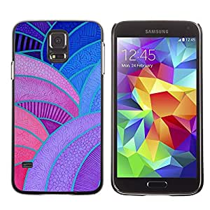 LECELL--Funda protectora / Cubierta / Piel For Samsung Galaxy S5 SM-G900 -- Lines Painting Vitrine Purple Red Blue --