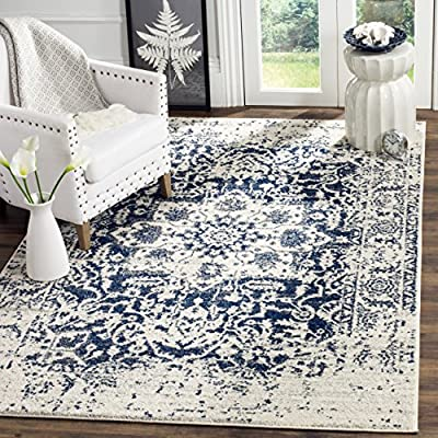 Safavieh Madison Collection MAD603D Cream and Navy Distressed Medallion Area Rug (3' x 5') - Vintage distressed design with a stunning oversized medallion adds a fashion-forward flair to décor Stylishly versatile, this rug works in the bedroom, living room, playroom, foyer, or dining room Refined power-loomed construction and enhanced polypropylene fibers ensure an easy-care and virtually non-shedding rug - living-room-soft-furnishings, living-room, area-rugs - 61HyJkddOoL. SS400  -
