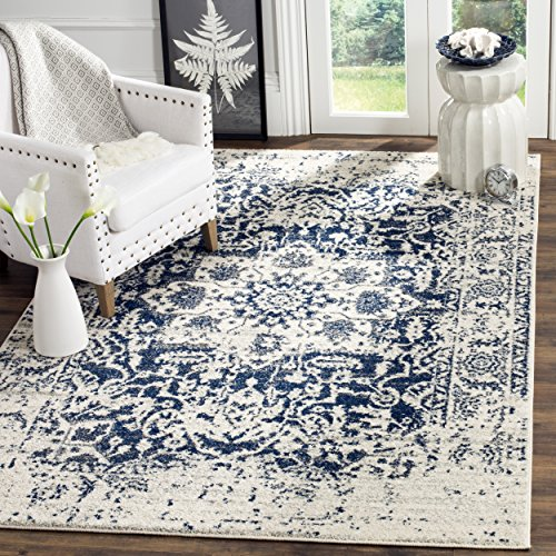 Safavieh Madison Collection MAD603D Cream and Navy Distressed Medallion Area Rug (6'7