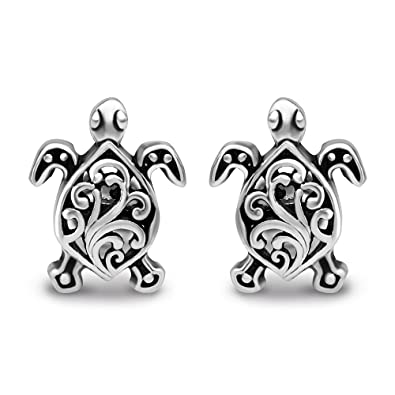 829c321a7 Image Unavailable. Image not available for. Color: 925 Oxidized Sterling  Silver Small Little Filigree Sea Turtle 11 mm Post Stud Earrings