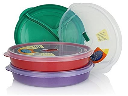 Escest Microwave Food Storage Tray Containers - 3 Section / Compartment Divided Plates w/ Vented  sc 1 st  Amazon.com : plastic divided plates with lids - pezcame.com