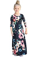 YMING Girls Long Sleeve Parent-Child Family Outfits Floral Printed Long Dress