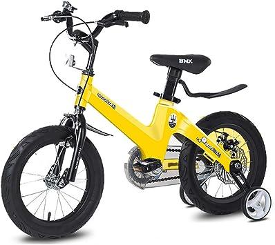 TOOSD bicycle Bicicleta para niños de aleación de magnesio 3-5-6-10-12 años de Edad Niño y niña Frenos de Doble Disco 14-16 Pulgadas Bicicleta de Estudiante portátil: Amazon.es: Deportes y aire libre
