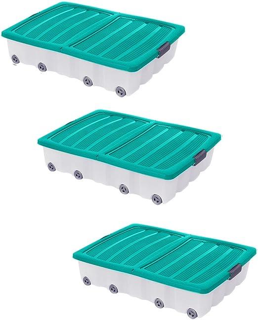 3 x verde grande debajo de la cama caja de almacenamiento cajón contenedor de plástico con ruedas juguetes ropa zapatos: Amazon.es: Hogar