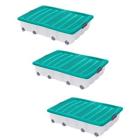 3 x verde grande debajo de la cama caja de almacenamiento cajón contenedor de plástico con