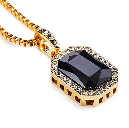7688eacfbd74f Grenf Fashion 18k Gold Plated Mens Hip-hop Gemstone Necklace with 30 ...