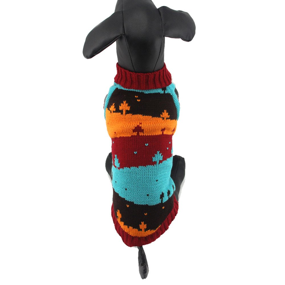 abcnature Christmas Pet Dog Tree Printed Sweater Cute Patchwork Clothing Puppy High-Neck Coats Costume Winter Warm