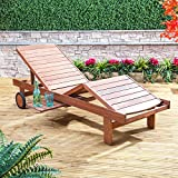 Adjustable Contoured Wooden Sun Lounger with Slide-In Tray