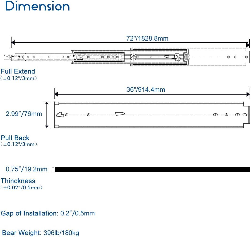 1 par VADANIA D2576 76 mm de ancho rodamientos de bolas de 3 pliegues de extensi/ón completa montaje lateral Camino de caj/ón ultrarresistente 500 mm con cerradura