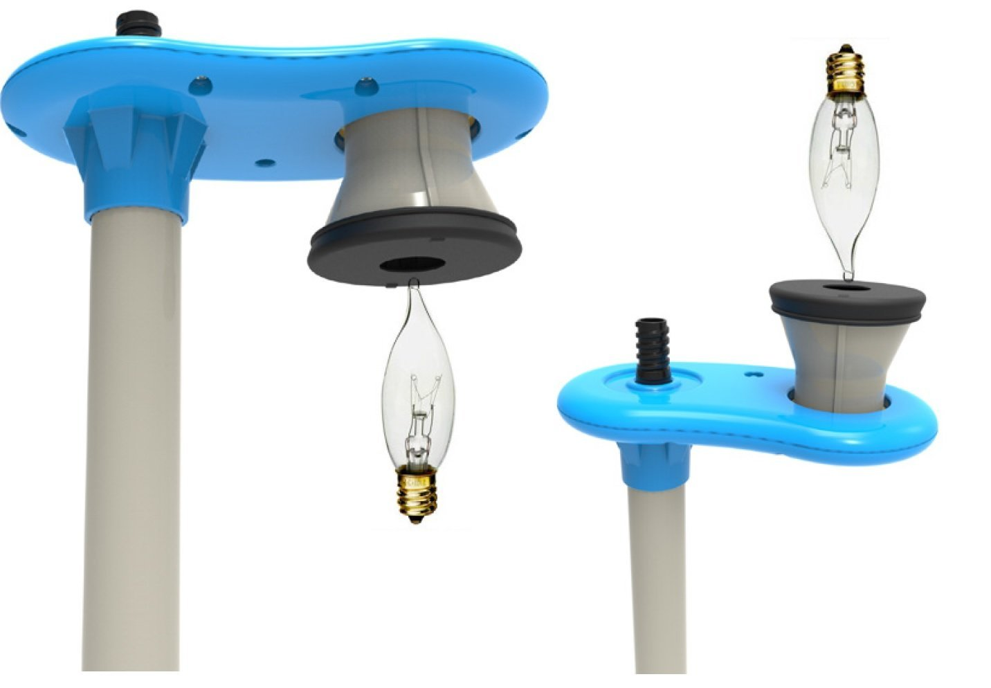 HighLight Chandelier Light Bulb Changer for High Ceilings - 6 Foot Telescoping Extension Pole with Sticky Bulb Grabber for Upward and Downward Facing Bulbs - For Candelabra Bulbs Only