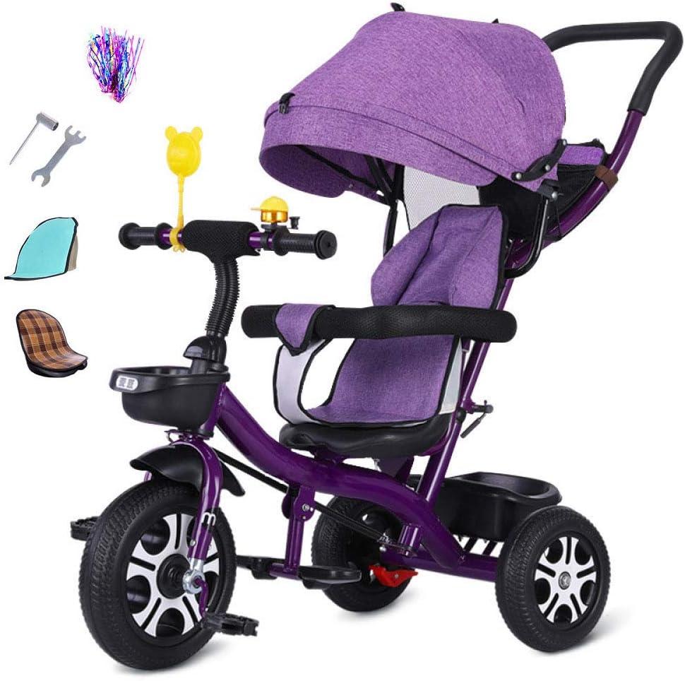 BGHKFF 3 En 1 Triciclo para Niños 1 A 5 Años Triciclo Infantil Mango Regulable En Altura Freno De Rueda Trasera Triciclo para Niños Pequeños Capacidad De Carga 25KG,Purple