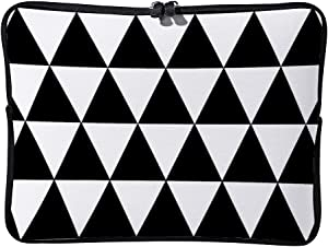 Black and White Triangle Pattern Geometric 15inch Neoprene Laptop Sleeve Case Protective Computer Cover Portable Carrying Bag Pouch for Notebook