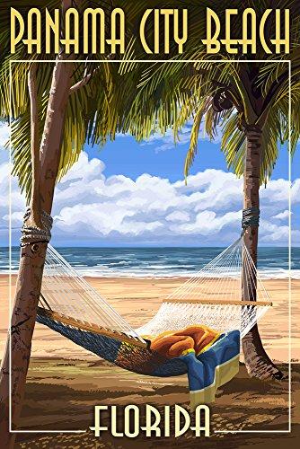 Panama City Beach, Florida - Hammock and Palms (12x18 Art Print, Wall Decor Travel Poster) (City Decor Beach Panama Beach)