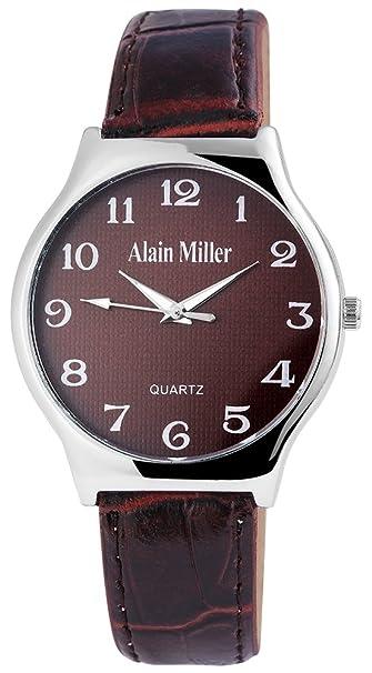Alain Miller Hombre Reloj analógico reloj de pulsera de color plateado cuarzo y carcasa de metal redondo 38 mm x 8 mm Correa de piel sintética marrón 22 cm ...