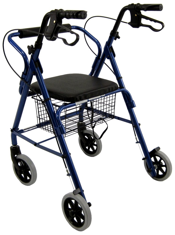 Karman Healthcare R-4100N-BL Aluminum Junior Rollator with Low Seat, Blue, 6 Inches Casters