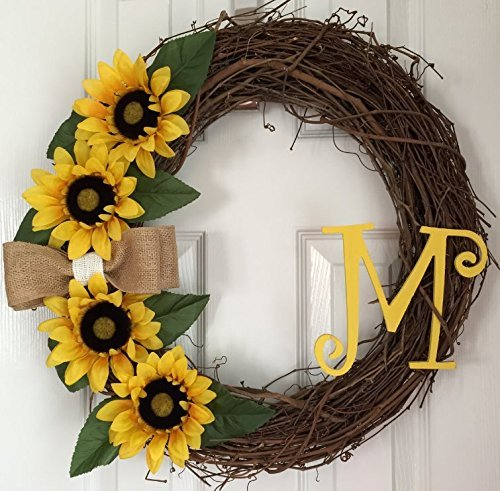 Superieur Yellow Sunflower Wreath   Sunflower Grapevine Wreath   Monogram Sunflower  Wreath   Summer Wreath For Front
