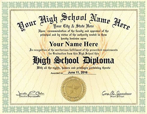 High School Diploma Custom Printed with Your Info - Premium Qaulity