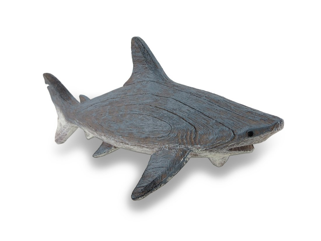 Things2Die4 Gray Weathered Finish Wood Look Shark Statue