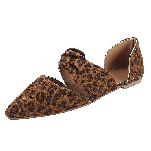 7b5b1b1cacbf9 Amazon.com: Women【Leopard Sandals】 Pointed Toe Flat Slip On ...
