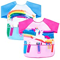 Nidoul 2 Pack Kids Art Smocks for Painting, Long Sleeve Unicorn Rainbow Painting Aprons for Toddler Kids, Waterproof Children Artist Aprons with 3 Pockets for 2-7 Years (Unicorn Rainbow)