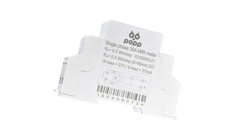 30 A POPP/® Electric Contador Medidor de Energ/ía Carril DIN Monof/ásico 1P230V 5 DDS9588