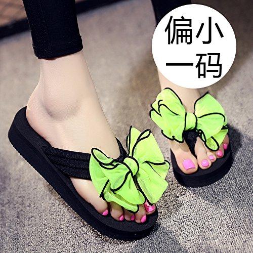 FLYRCX Damas de verano al aire libre en la playa playa de fondo plano zapatos sweet bow clip pies chanclas sandalias de moda europea de tamaño: 30-42 h