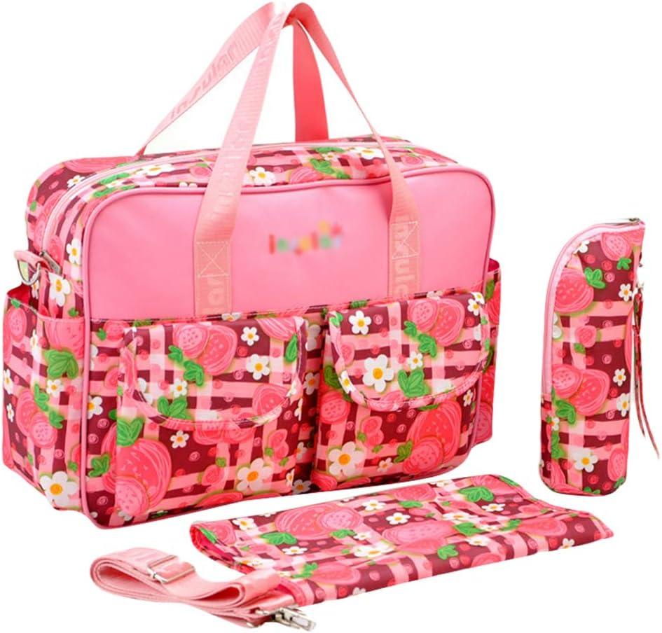 Haobing 2pcs Bolsos Cambiadores Mamá Papá Bolso de Viaje Maternidad Bolsos Bandolera para pañales Totes Shoppers (Fresa Rosa, 39 * 12.5 * 29cm)
