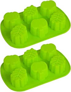 2 pieces pumpkin leaf silicone mold 3D Thanksgiving autumn theme silicone mold making soap candle candy muffin chocolate cake decoration (green)