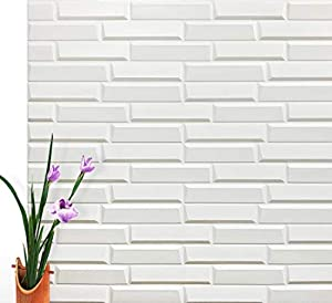 """Art3d Peel and Stick 3D Wall Panels for Interior Wall Decor, White, 27.5""""x30.7"""" (10-Pack)"""