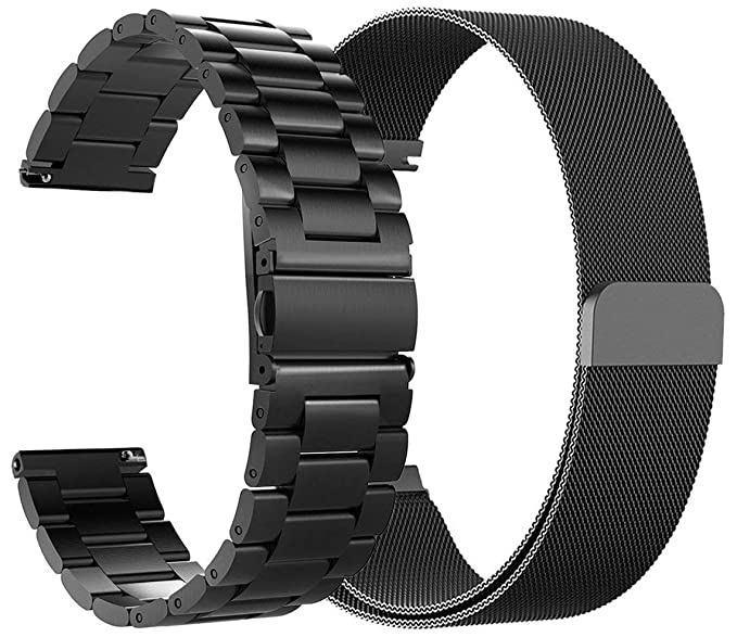 9a3ccf442f7 for Fossil Gen 4 Q Explorist HR Bands 22mm Stainless Steel Band + Milanese  Loop Mesh