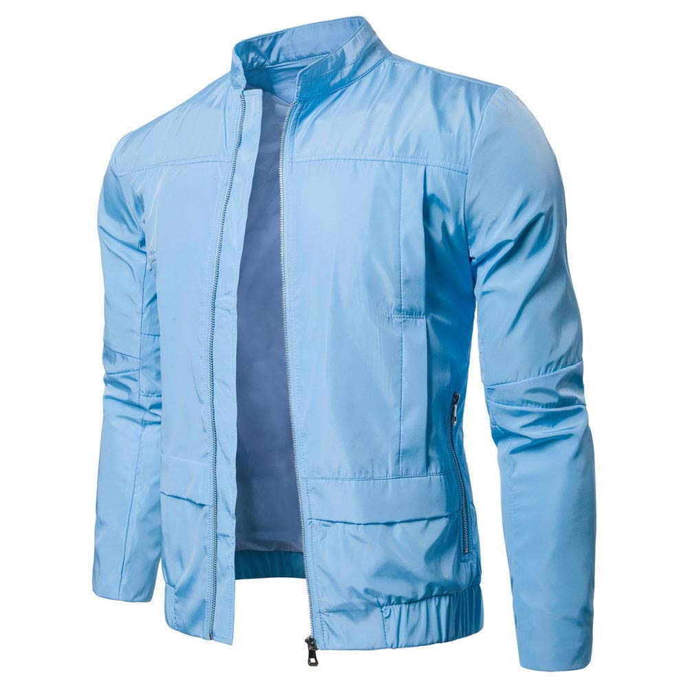 Realdo Mens Outdoor Sport Jacket Big Promotion, Solid Casual Lightweight Breathable Fashion Stand Zip Jacket Top Blouse(Small,Light Blue)