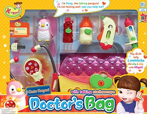 English Package Kongsuni Series Doctor's bag Doctor Kit for Kids with Toy Bird Peng And The Talking Toy Stethoscope for Kids Doctor playset