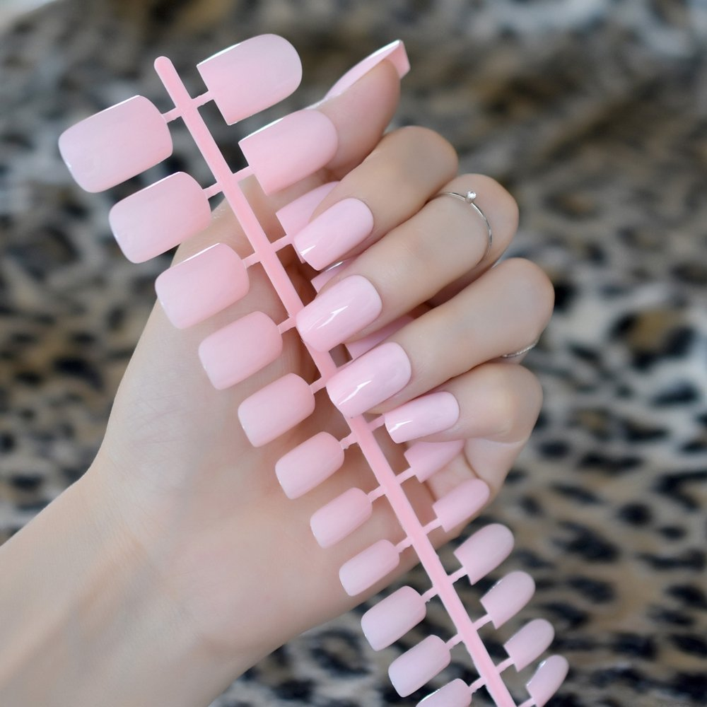 Amazon.com : CoolNail UV Effect Light Pink False Nails Tip French Full Cover Medium Length Square Fake Nail ABS Artificial DIY Nail Manicure : Beauty