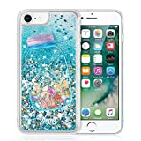 Quicksand Phone Case for iPhone 8 and iPhone 7, LUXMO Glitter Quicksand Liquid Cover Case Sparkle Moving Stars Waterfall Shockproof Shell with Ring Kickstand for 4.7〃 iPhone 6 6s 7 8 (Pink)