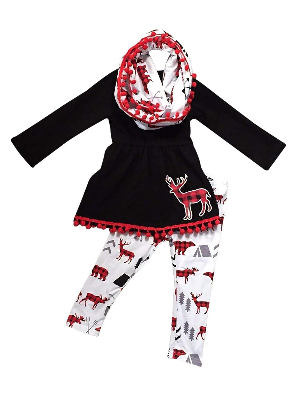 Aki_Dress Little Girl Toddler Long Sleeves Deer Print Black Top White Pants Set 2t-8