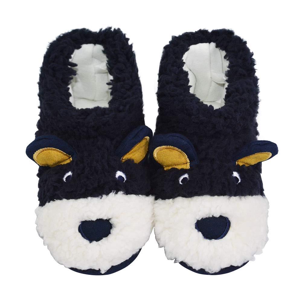 LA PLAGE Boys Indoor/Outdoor Comfy Anti-Slip Plush Low Bootie Slippers 8-9 US Bear