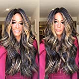 Long Lace Front Wigs Wavy Curly Brown Synthetic Black Roots Middle (a)
