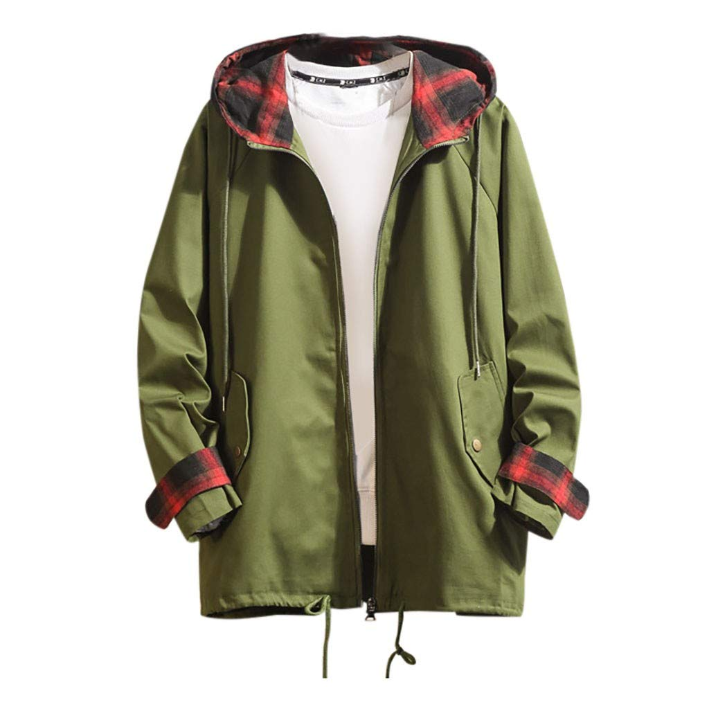 Allywit-Mens Autumn Winter Casual Mid-Length Hoodie Plaid Outdoor Windbreaker Thin Coat Workout Outerwear Army Green by Allywit-Mens