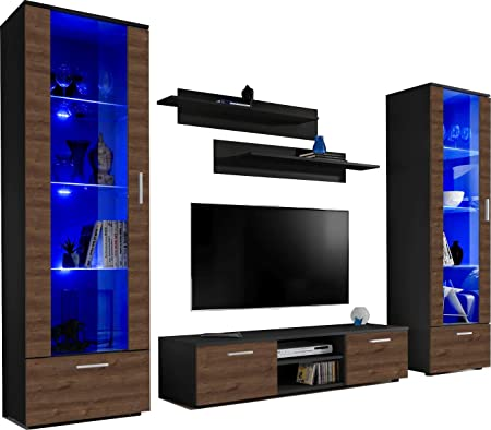 ExtremeFurniture Twins Mueble para TV, Carcasa en Blanco Mate/Frente en Roble Bronce Mate + LED Mando a Distancia: Amazon.es: Hogar
