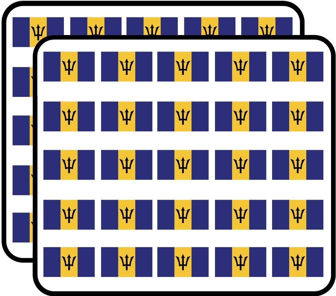 Barbados Flag Sticker for Scrapbooking, Calendars, Arts, Kids DIY Crafts, Album, Bullet Journals 50 Pack