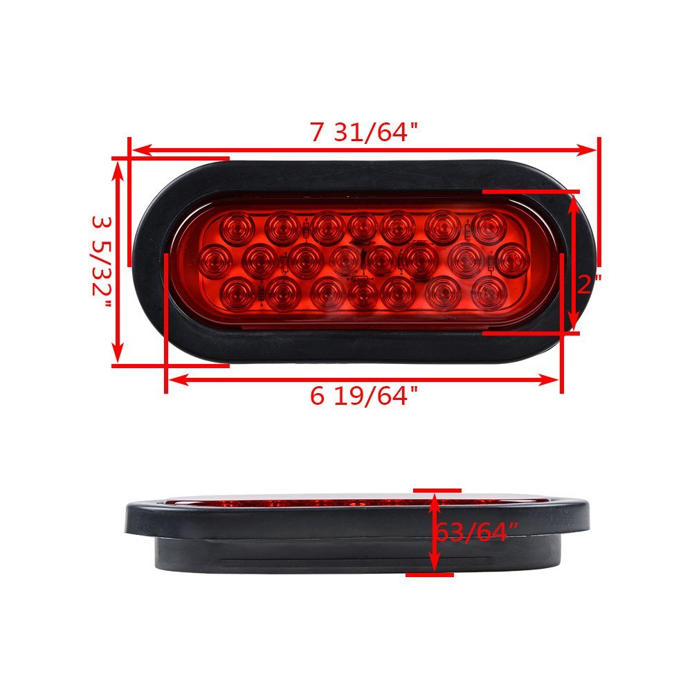 12v Oval Sealed Led Truck Tractor Trailer Tail Lights Also Along With Wiring Plugs Pack Of 8 Red Automotive