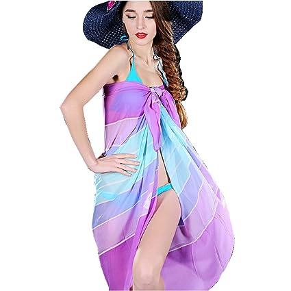 e769ee0cde Amazon.com: Women Sexy Chiffon Swimsuit Bikini Cover Up Summer Dress Beach  Scarf Shawl Wrap Sarong: Home & Kitchen