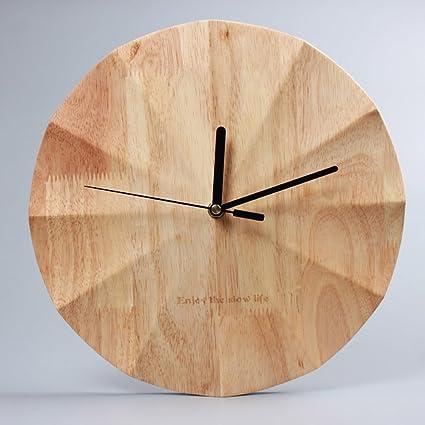 KKLOCK Wanduhr Uhr Wanduhren ohne Ticken Lautlos für Wohnzimmer Büro  Schlafzimmer Küche Kinderzimmer Holz Wellenoberfläche Einfache Ø30cm Runde  ...