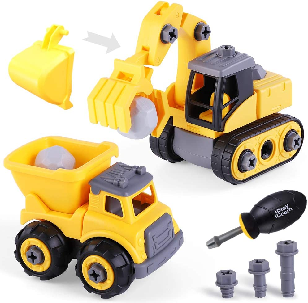 iPlay, iLearn Construction Vehicles Play Set, Take Apart Truck Toy, Assembly Dump Truck, Excavator, Digger W/ Screwdriver, STEM Learning Gifts for 3 4 5 6 Year Olds, Kids, Toddlers, Boys, Children