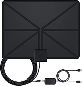 TV Antenna,Indoor Amplified Digital HDTV Antenna 60-120 Miles Range, 4K 1080P UHF VHF Freeview HDTV Channels for All Indoor TVs- 16.5 Ft Premium Long Coaxial Cable…