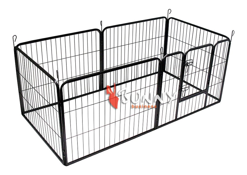 BUNNY BUSINESS Heavy Duty 6 Panel Puppy Play Pen/Rabbit Enclosure, Small, Gunmetal Grey by BUNNY BUSINESS (Image #1)