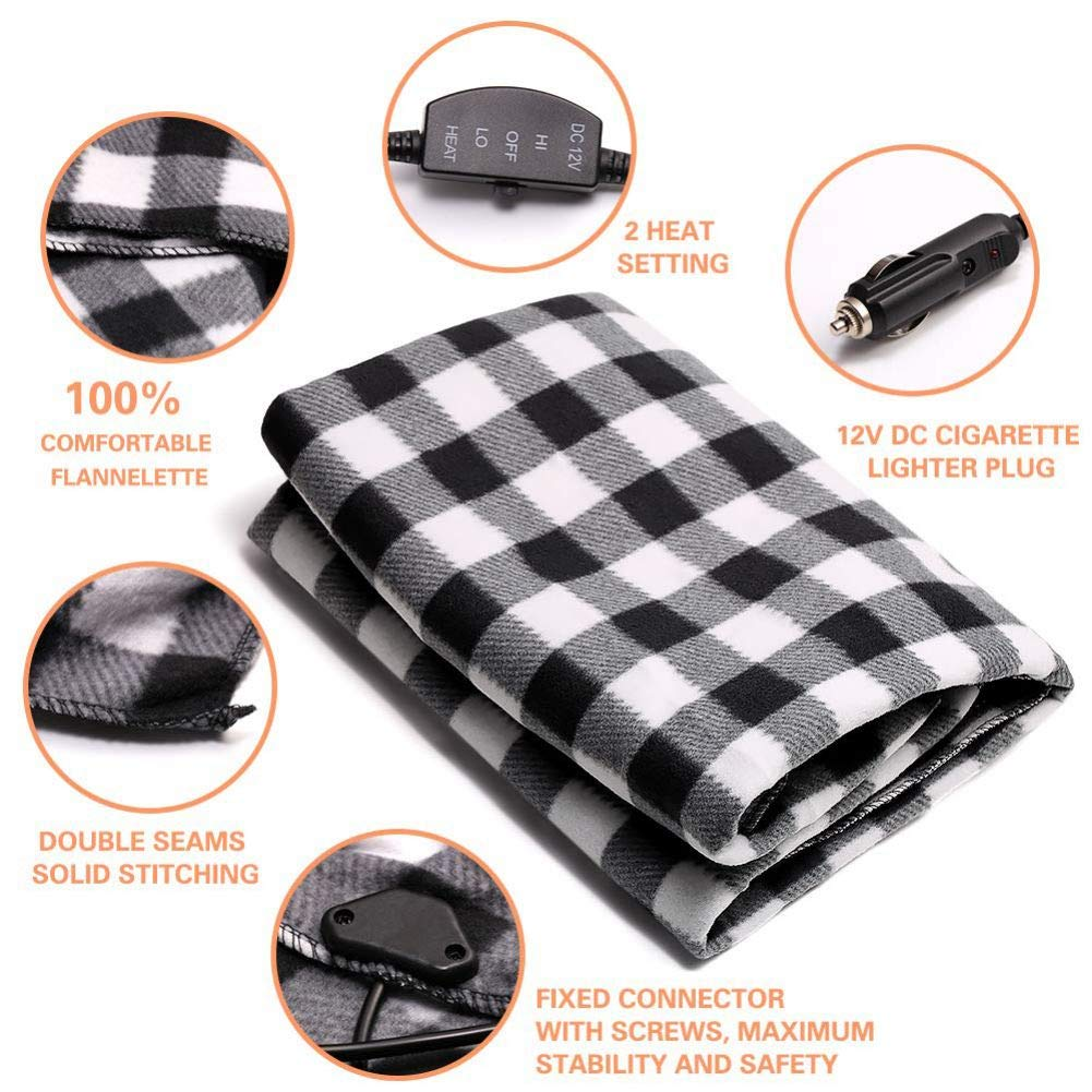 Tailgating Heated 12 Volt Fleece Travel Throw for Car and RV-Great for Cold Weather and Emergency Kits Black//White Electric Car Blanket