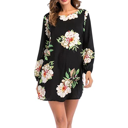 ddef76dd5ce G&Kshop Dress, Women Long Sleeve Loose Dress Spring Floral Print O-Neck  Casual Mini